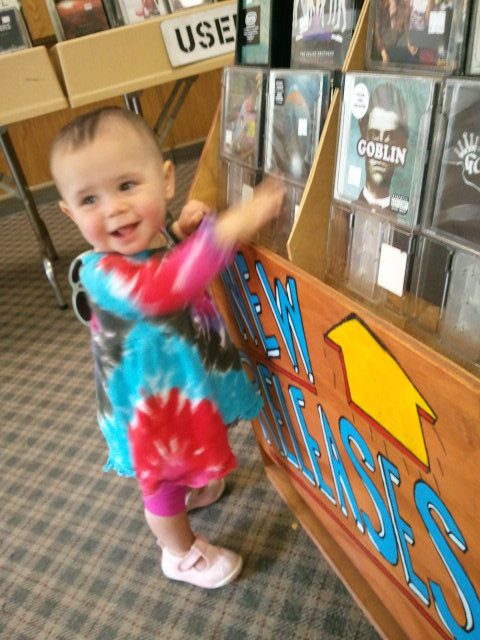 My daughter Ava shopping for records at the Sound Station